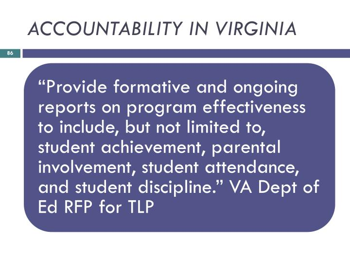 ACCOUNTABILITY IN VIRGINIA