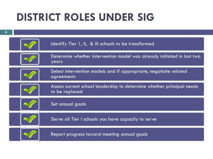 DISTRICT ROLES UNDER SIG
