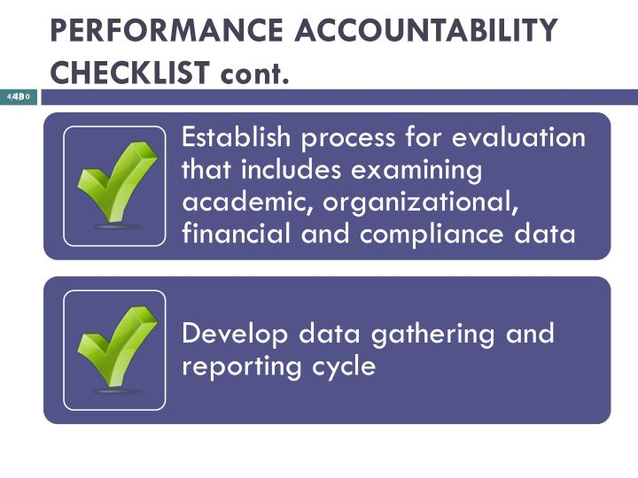 PERFORMANCE ACCOUNTABILITY CHECKLIST cont.