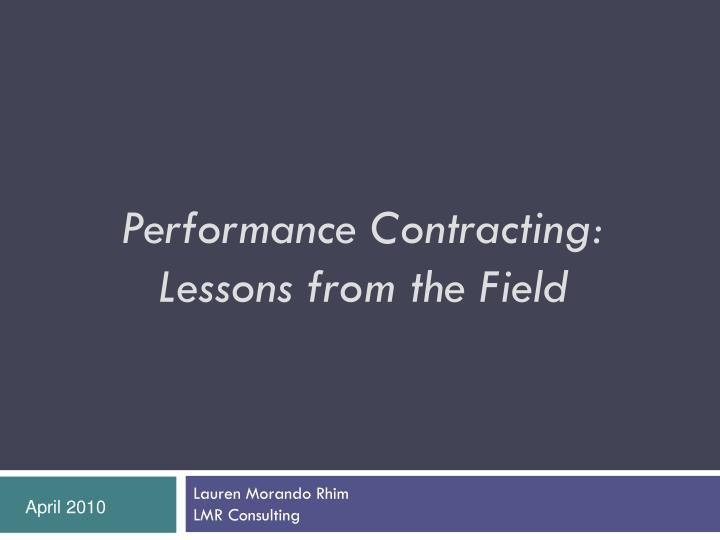 Performance Contracting: