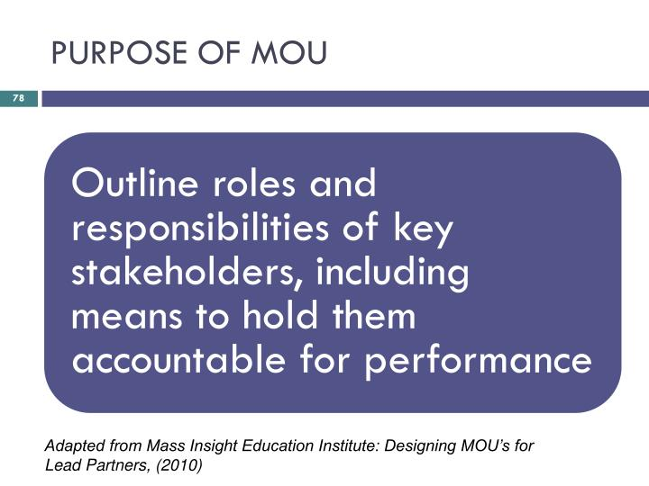 PURPOSE OF MOU