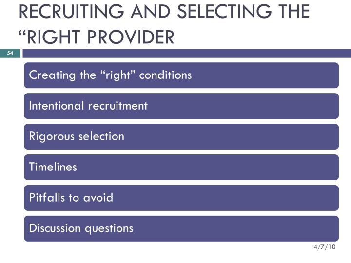"RECRUITING AND SELECTING THE ""RIGHT PROVIDER"