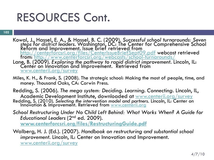 RESOURCES Cont.