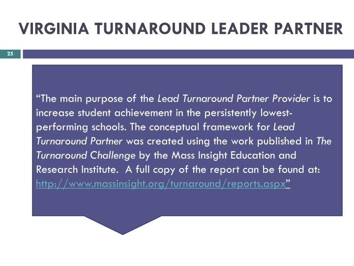 VIRGINIA TURNAROUND LEADER PARTNER