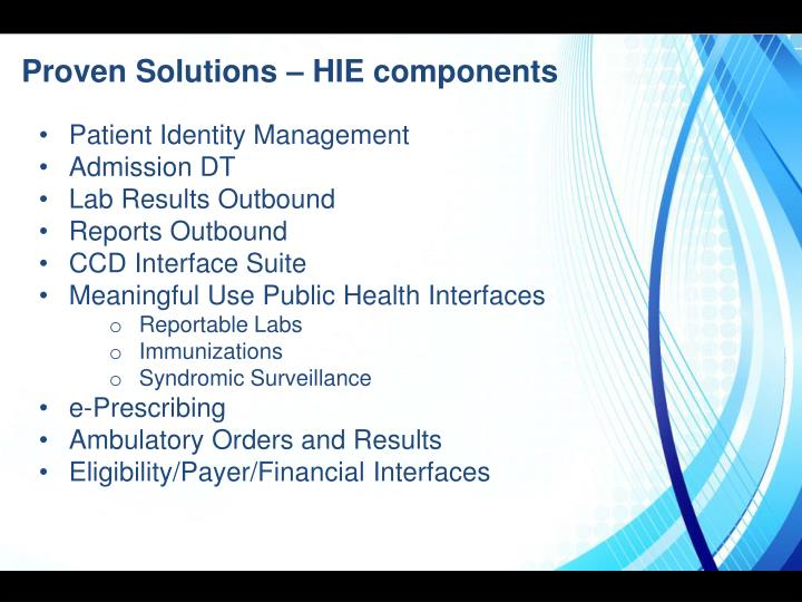 Proven Solutions – HIE components