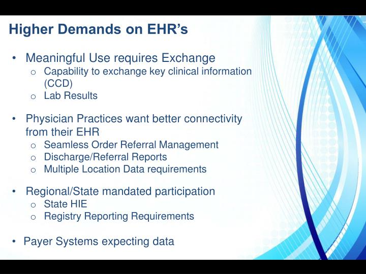 Higher Demands on EHR's