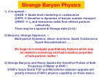strange baryon physics