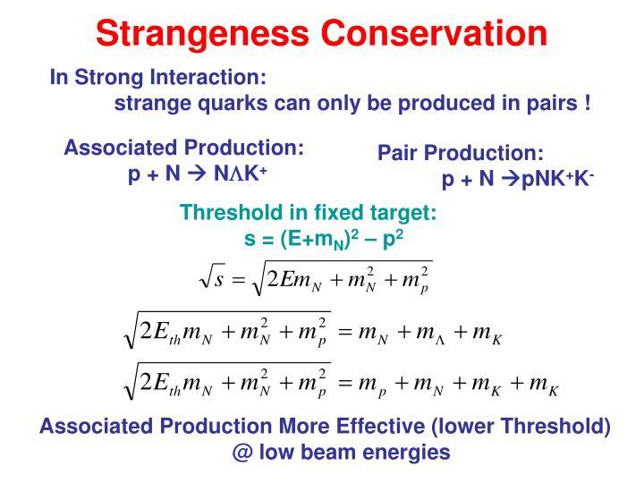 Strangeness Conservation