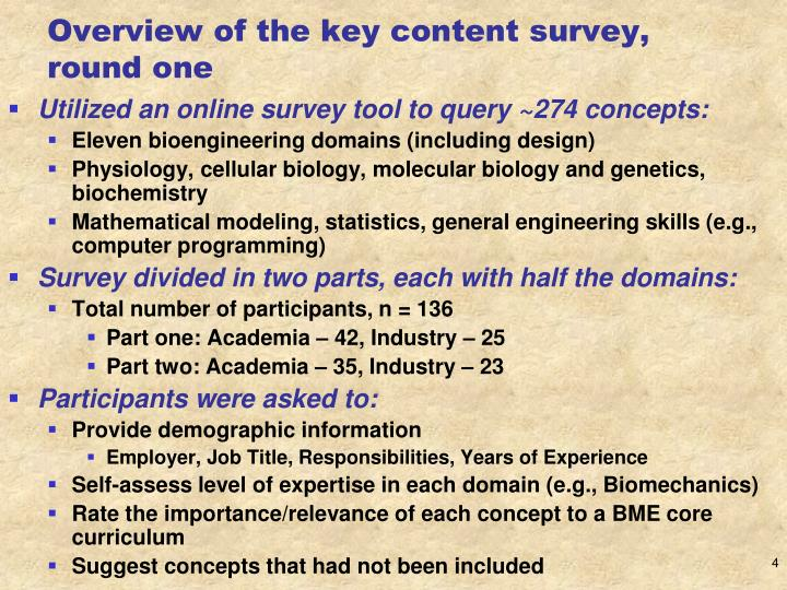 Overview of the key content survey, round one