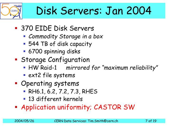 Disk Servers: Jan 2004