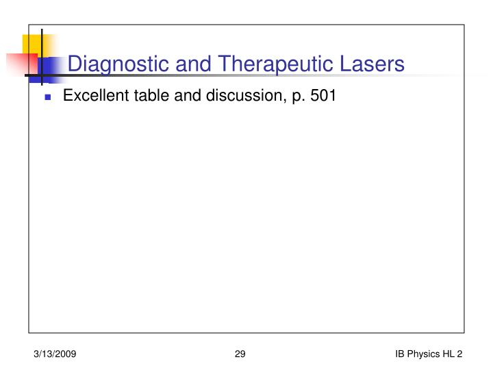 Diagnostic and Therapeutic Lasers