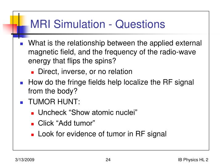 MRI Simulation - Questions