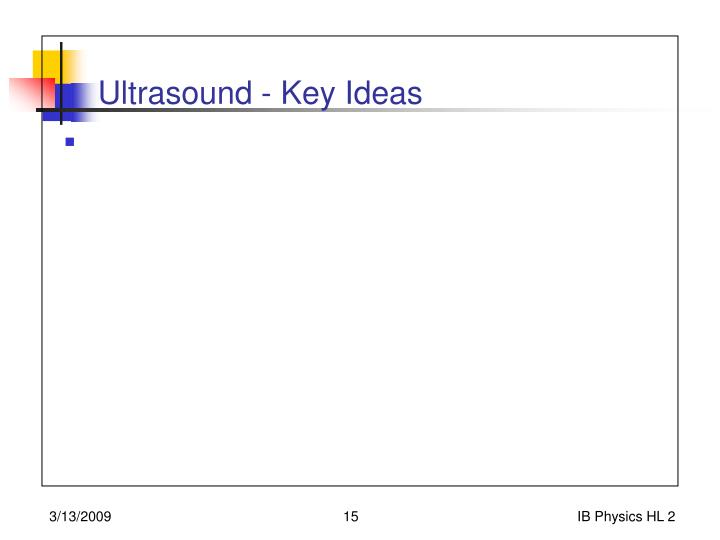 Ultrasound - Key Ideas