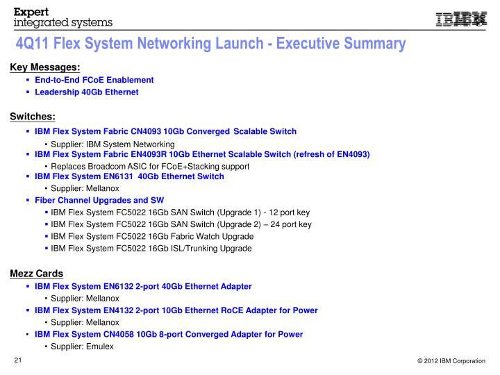 4Q11 Flex System Networking Launch - Executive Summary