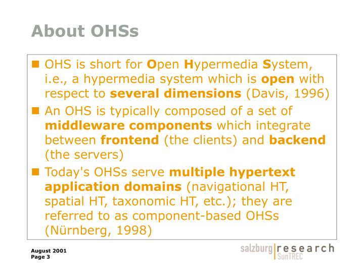 About OHSs
