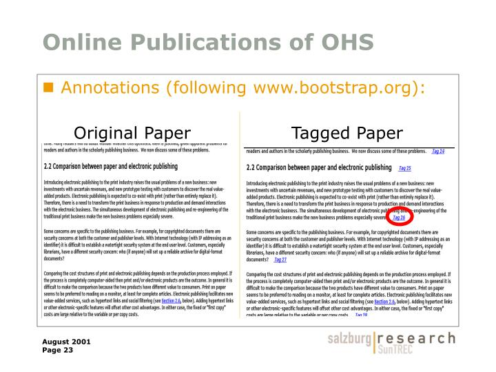 Online Publications of OHS