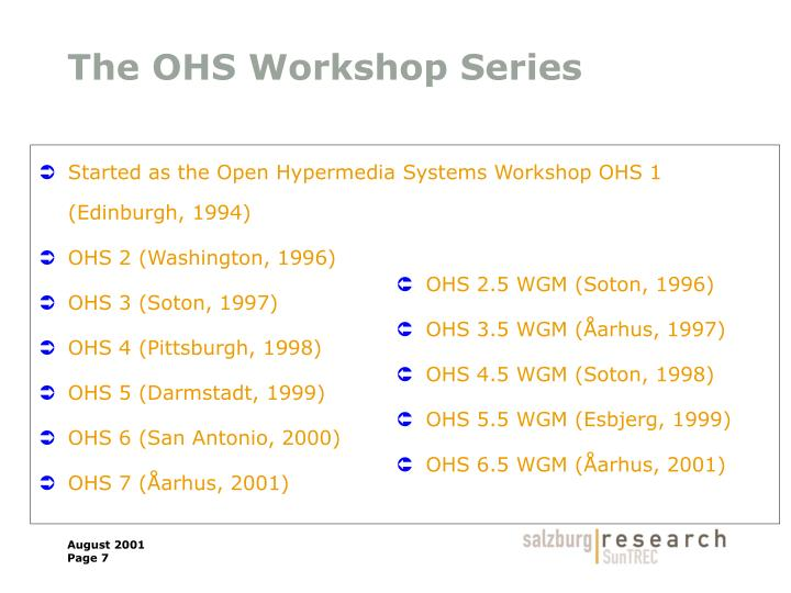 The OHS Workshop Series