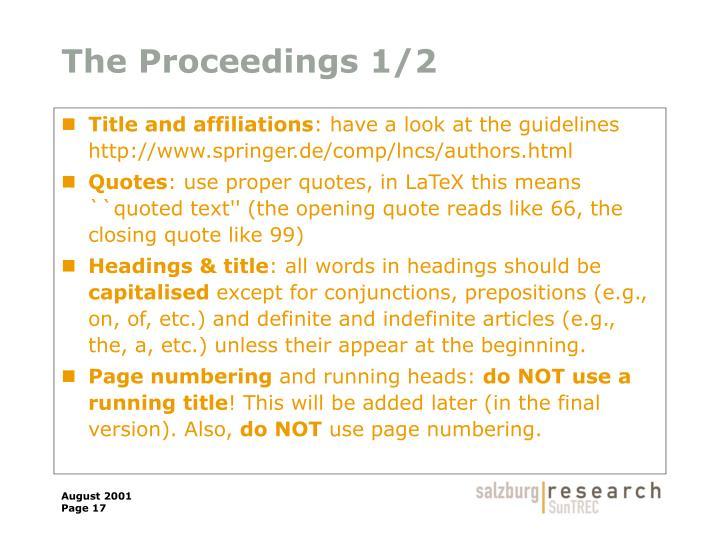 The Proceedings 1/2