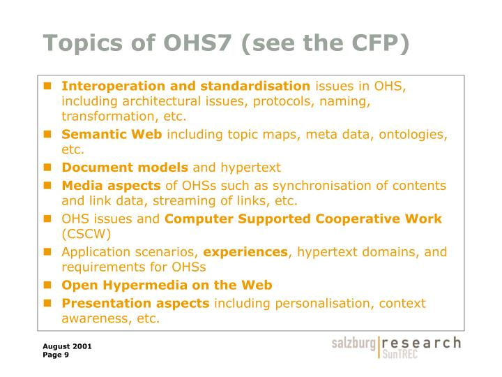 Topics of OHS7 (see the CFP)