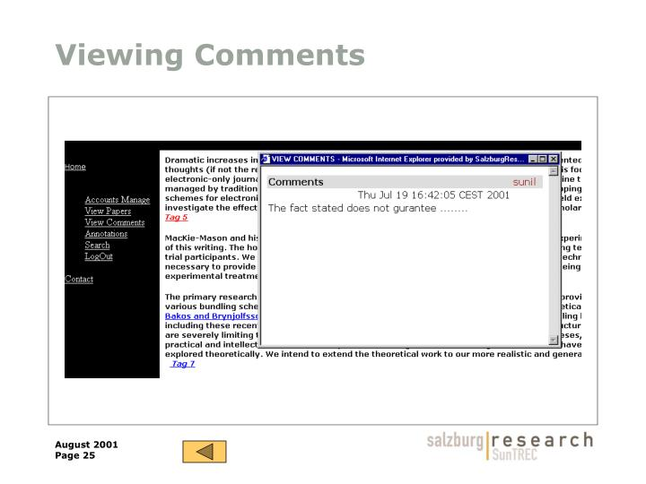 Viewing Comments
