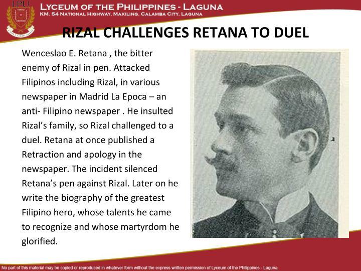 RIZAL CHALLENGES RETANA TO DUEL