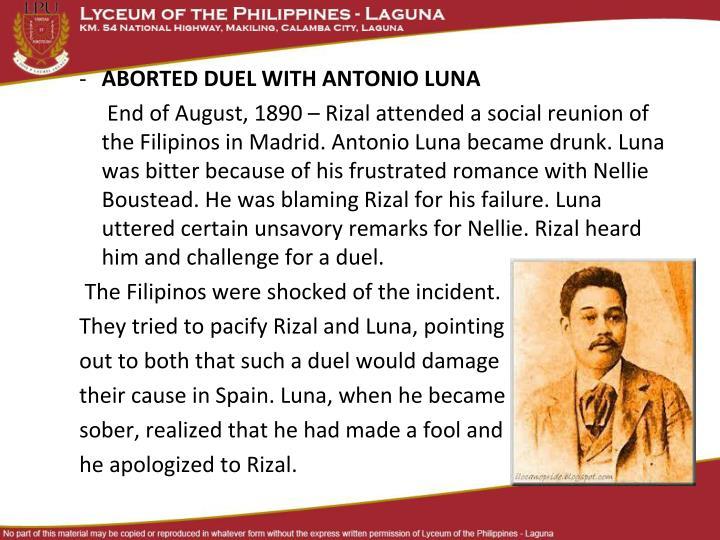 ABORTED DUEL WITH ANTONIO LUNA