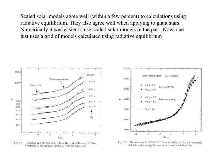 Scaled solar models agree well (within a few percent) to calculations using radiative equilibrium. They also agree well when applying to giant stars. Numerically it was easier to use scaled solar models in the past. Now, one just uses a grid of models calculated using radiative equilibrium