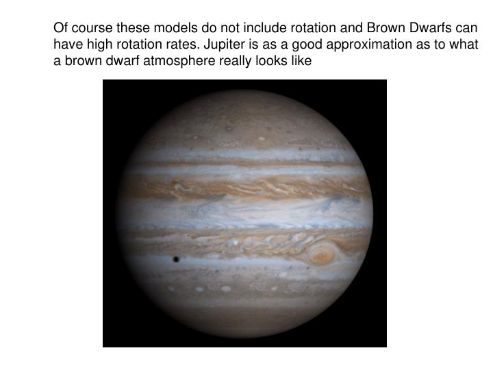 Of course these models do not include rotation and Brown Dwarfs can have high rotation rates. Jupiter is as a good approximation as to what a brown dwarf atmosphere really looks like