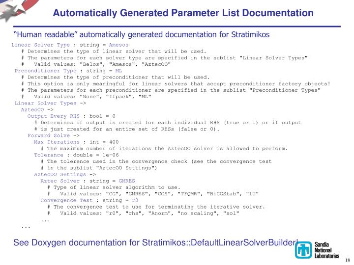 Automatically Generated Parameter List Documentation