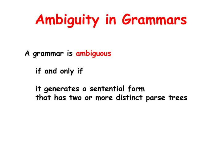 Ambiguity in Grammars