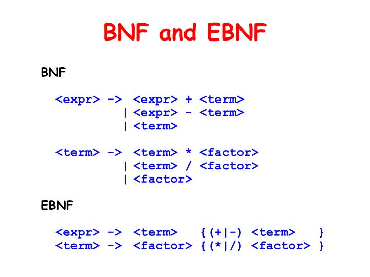 BNF and EBNF