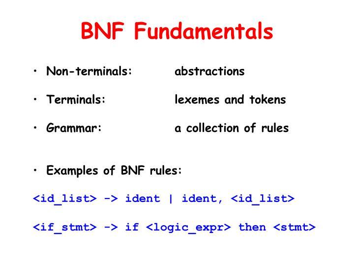 BNF Fundamentals