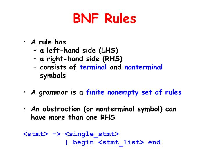 BNF Rules