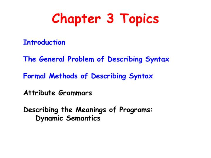 Chapter 3 Topics