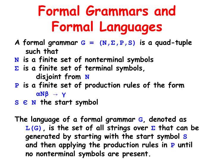 Formal Grammars and