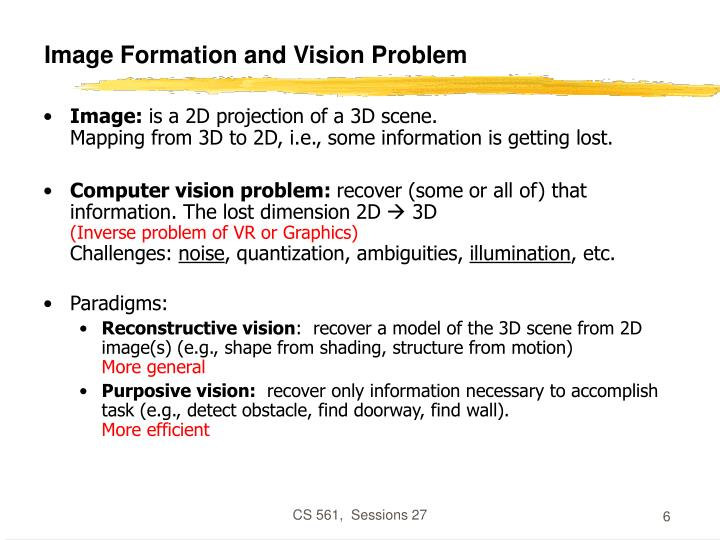 Image Formation and Vision Problem