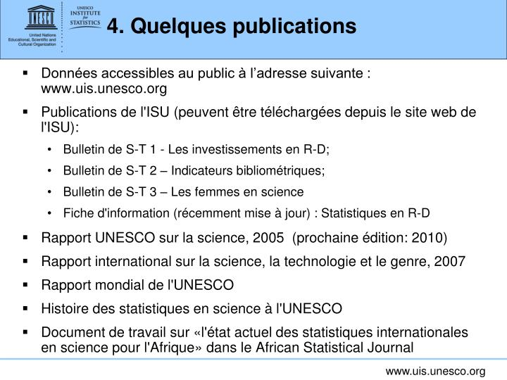 4. Quelques publications