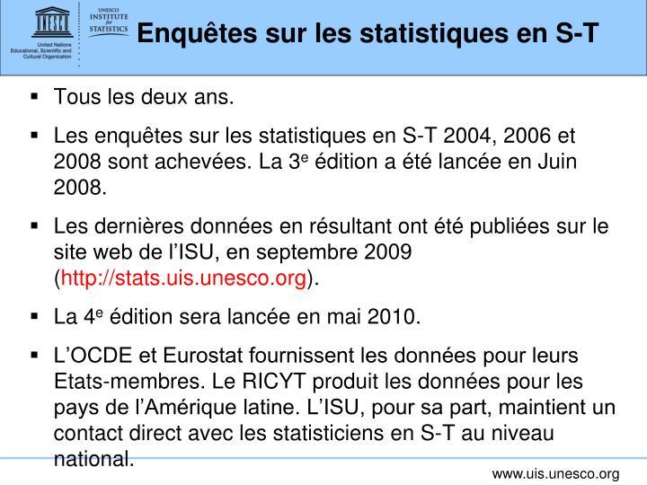 Enquêtes sur les statistiques en S-T