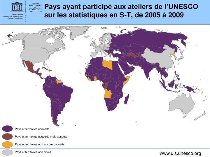 Pays ayant participé aux ateliers de l'UNESCO sur les statistiques en S-T, de 2005 à 2009