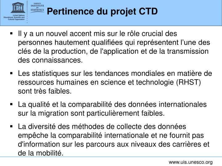 Pertinence du projet CTD
