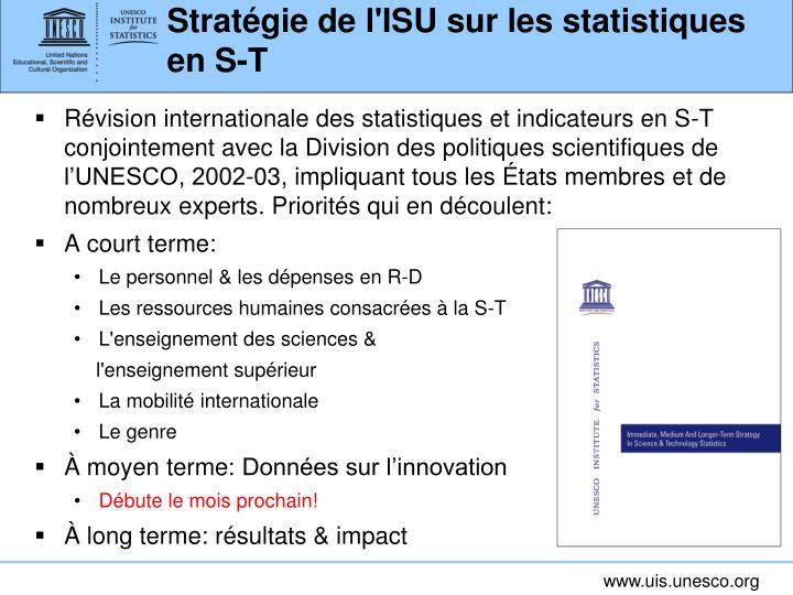 Stratégie de l'ISU sur les statistiques en S-T