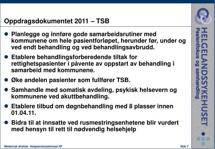Oppdragsdokumentet 2011 – TSB