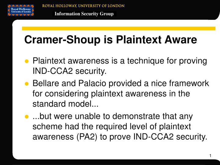 Cramer shoup is plaintext aware