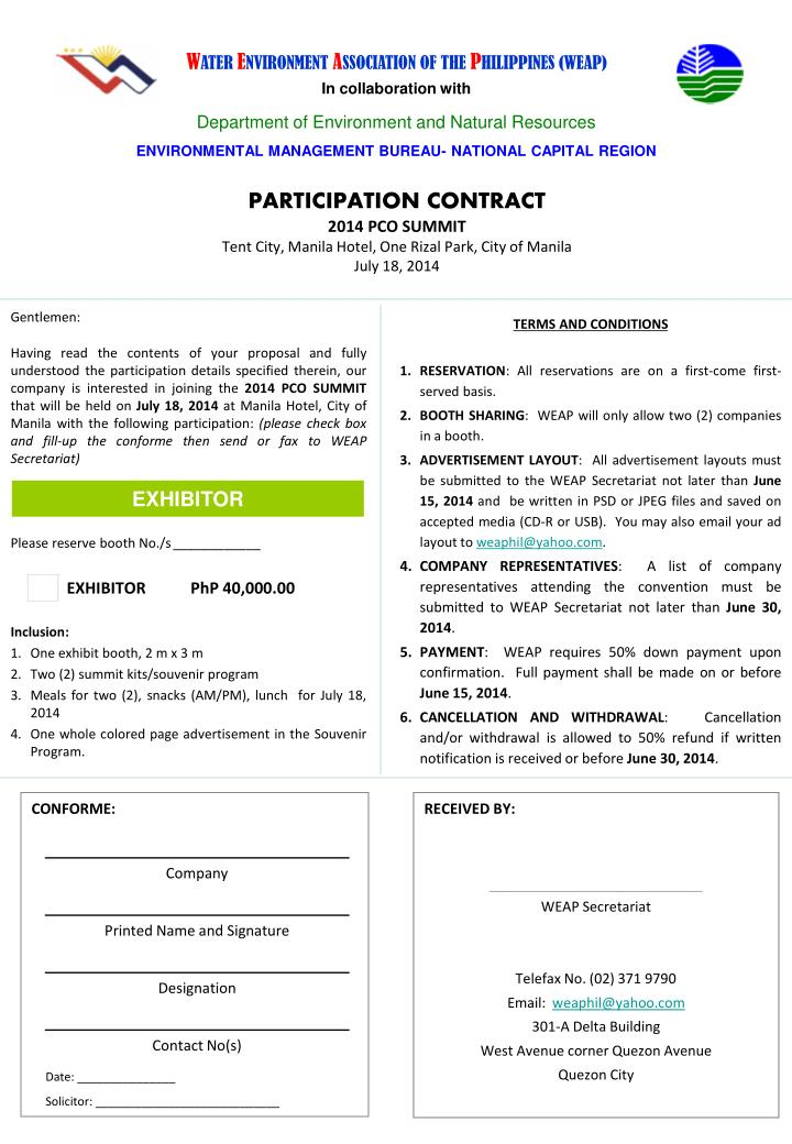 Participation contract 2014 pco summit tent city manila hotel one rizal park city of manila