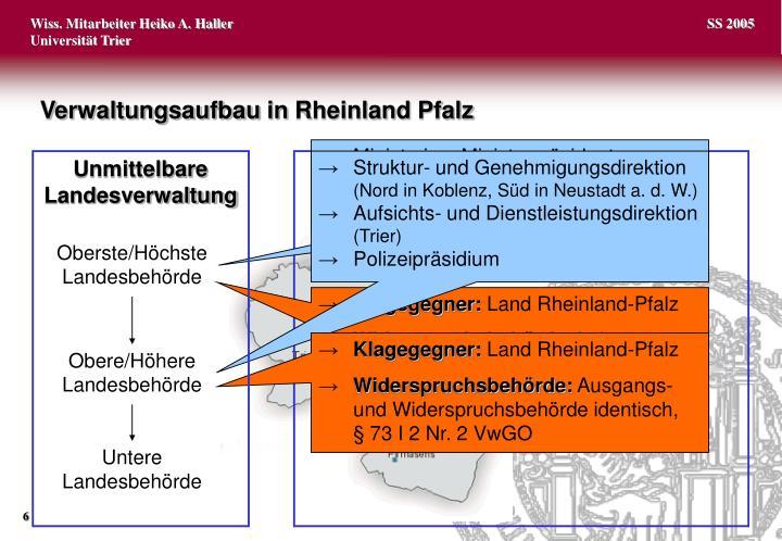Verwaltungsaufbau in Rheinland Pfalz