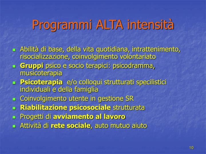 Programmi ALTA intensità