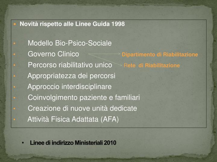 Linee di indirizzo Ministeriali 2010