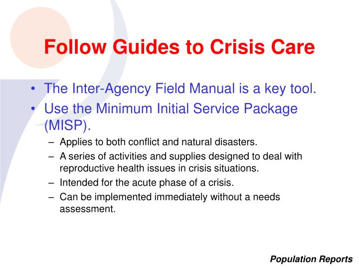 Follow Guides to Crisis Care