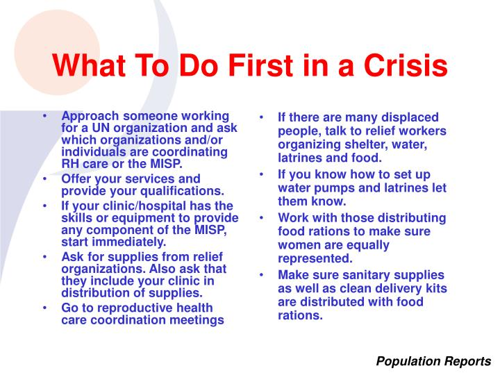 Approach someone working for a UN organization and ask which organizations and/or individuals are coordinating RH care or the MISP.