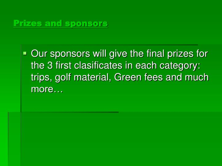 Prizes and sponsors